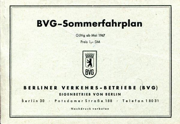 Eisenbahn Sammlershop Bvg Fahrplan 1967 Berlin